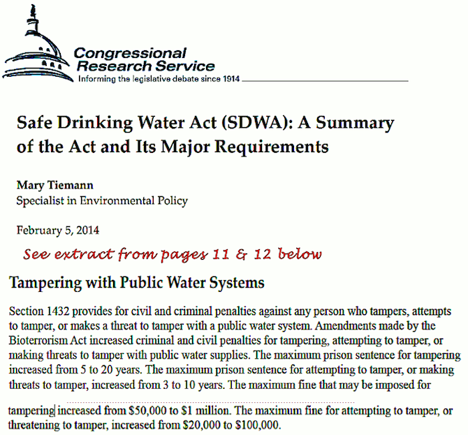 Tampering with Public Water Systems